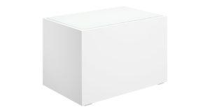 Loungetisch 70cm weiß mit Glasplatte 13