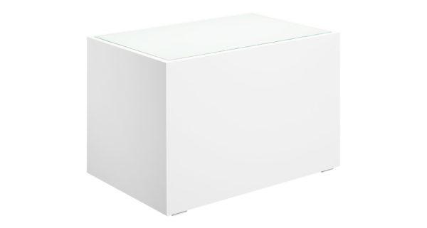 Loungetisch 70cm weiß mit Glasplatte 3