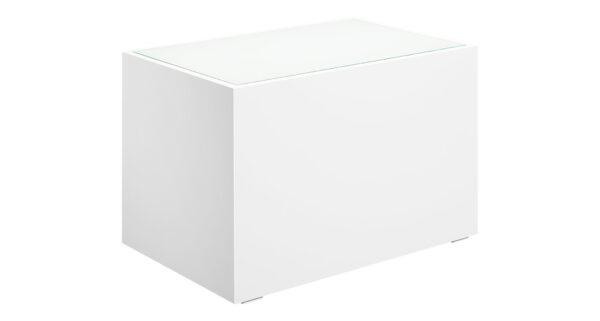 Loungetisch 70cm weiß mit Glasplatte 1