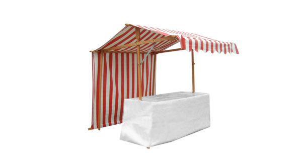 Ein Markstand mit rot weißer Plane und einer zwei Meter breiten Tischfläche mit eine weißen Plane verhüllt. Man kann ihn benutzen um Waren auf einem Wochenmarkt zu präsentieren oder um Speisen anzubieten