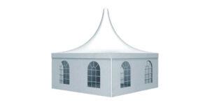 ein großes Pagodenzelt mit Fenstern
